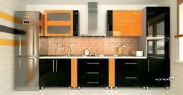 Кухня (Алстром) Апельсин и Черный - VittaMebel.ru