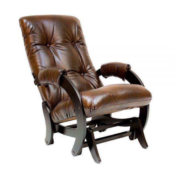 Кресло-качалка глайдер МИ Модель 68, Венге, к/з Antik crocodile выгодно от VittaMebel.ru
