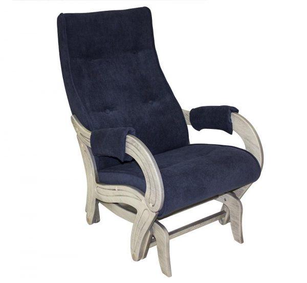 Кресло-качалка глайдер МИ Модель 708, Дуб шампань патина, ткань Verona Denim Blue выгодно от VittaMebel.ru