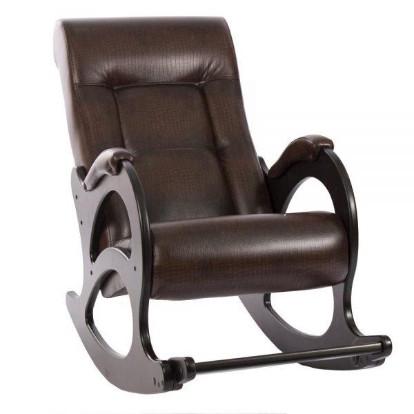 Кресло-качалка МИ Модель 44 венге б/л, Венге б/л, к/з Antik crocodile выгодно от VittaMebel.ru
