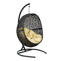 Подвесное кресло LUNAR BLACK МИ (175), Каркас черный, подушка светло-бежевая - VittaMebel.ru