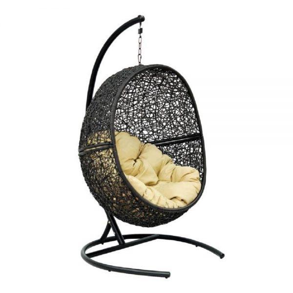 Подвесное кресло LUNAR BLACK МИ (175), Каркас черный, подушка светло-бежевая выгодно от VittaMebel.ru