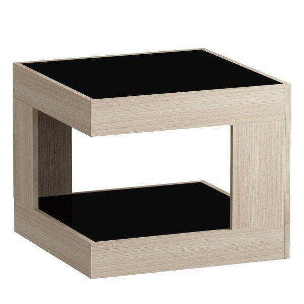 Стол журнальный LS 746, 05.01 (корпус-ясень светл,стекло-черн) выгодно от VittaMebel.ru