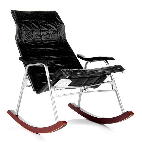 Кресло-качалка складная Белтех, к/з черный выгодно от VittaMebel.ru