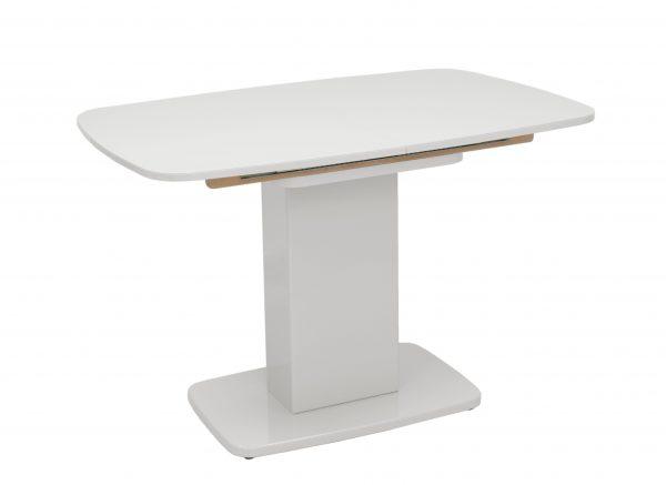 Стол раздвижной Leset Денвер 1Р МИ, Белый лак, стекло Белое выгодно от VittaMebel.ru