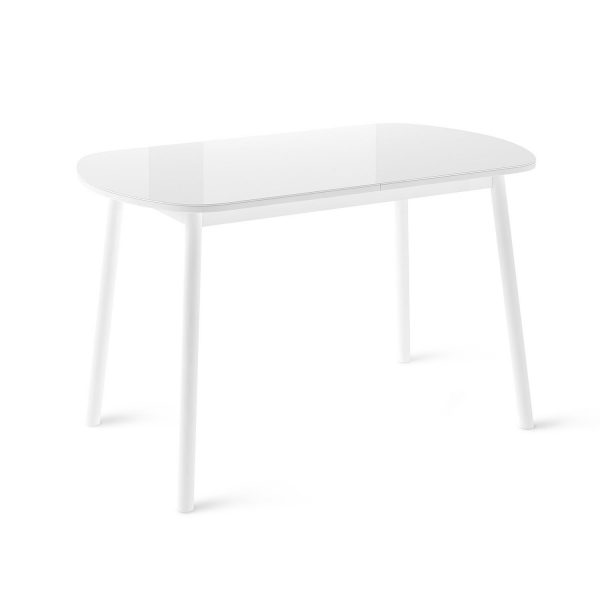Стол раздвижной Leset Мидел МИ, металл Белый, стекло Белое выгодно от VittaMebel.ru