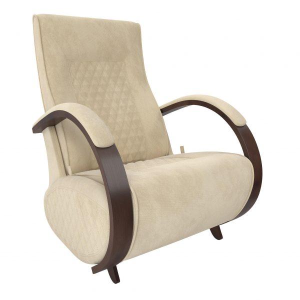 Кресло-глайдер МИ Модель Balance 3 с накладками, Орех/шпон, ткань Verona Vanilla выгодно от VittaMebel.ru