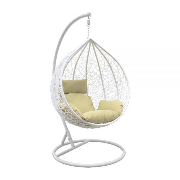 Подвесное кресло LESET ALTAR WHITE МИ, каркас Белый, подушка Зелёная выгодно от VittaMebel.ru