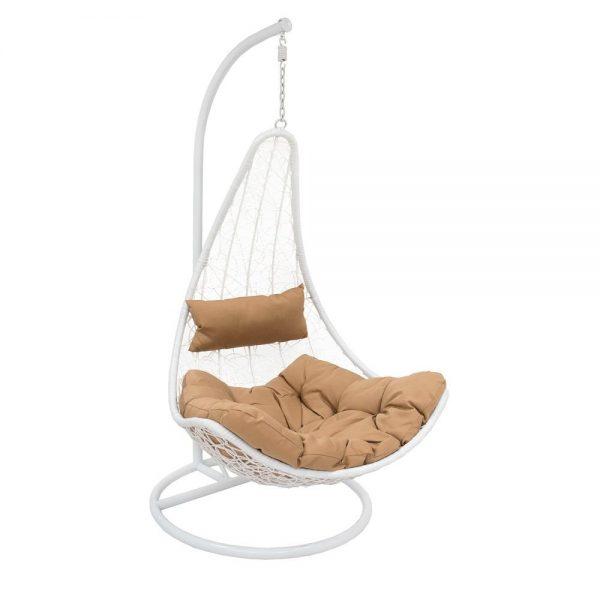 Подвесное кресло LESET STERN WHITE МИ, каркас Белый, подушка Коричневая выгодно от VittaMebel.ru