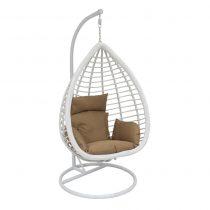 Подвесное кресло LESET EAGLE WHITE МИ, каркас Белый, подушка Коричневая - VittaMebel.ru