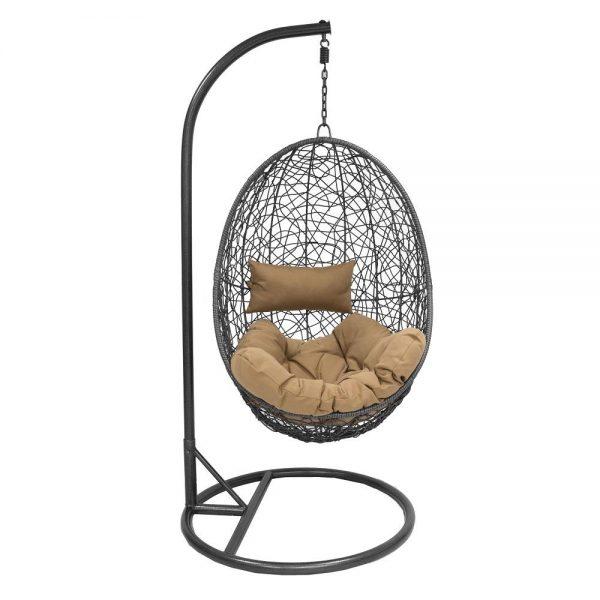 Подвесное кресло LESET SAILS BLACK МИ, каркас Чёрный, подушка Кофейная выгодно от VittaMebel.ru