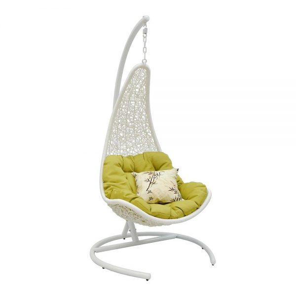 Подвесное кресло WIND WHITE МИ (195), Каркас белый, подушка зеленая(салатовая) выгодно от VittaMebel.ru