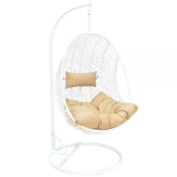 Подвесное кресло LESET LEO WHITE МИ, каркас Белый, подушка Коричневая выгодно от VittaMebel.ru