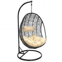 Подвесное кресло LESET LEO BLACK МИ, каркас Чёрный, подушка Кофейная - VittaMebel.ru
