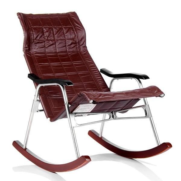 Кресло-качалка складная Белтех, к/з коричневый выгодно от VittaMebel.ru