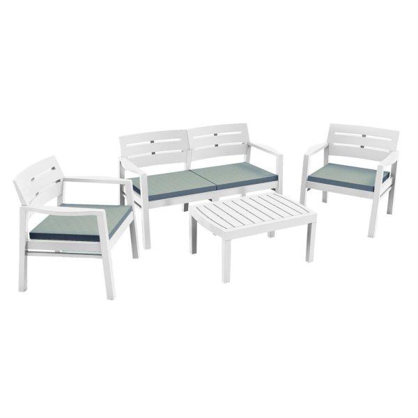 Набор мебели из пластика Java, JAV04CCB, с подушками, белый выгодно от VittaMebel.ru