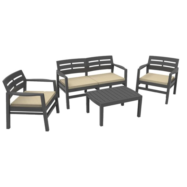 Набор мебели из пластика Java, JAV04CCA, с подушками, антрацит выгодно от VittaMebel.ru